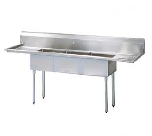 "Turbo Air TurboAir Sink Three Compartment 18"" front-to-back x 18"" wide sink compartments - TSA-3-14-D1"