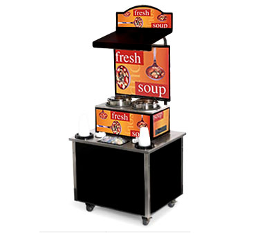 Vollrath Cayenne Soup Kiosk-free standing Merchandiser with Homestyle graphics Black Laminate Signature Server Classic base TSM-27 - 3702806