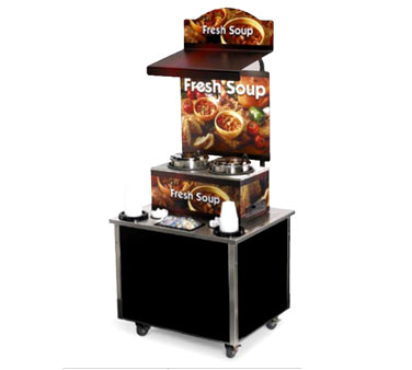 Vollrath Cayenne Soup Kiosk-free standing Merchandiser with Country Kitchen graphics Black Laminate Signature Server Classic base TSM-27 - 3702803