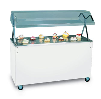 "Vollrath Affordable Portable Utility Station with BLACK WRAPPER with easy access fully enclosed clear acrylic Buffet NSF2 Certified breath guard 12"" clearance - 38702"