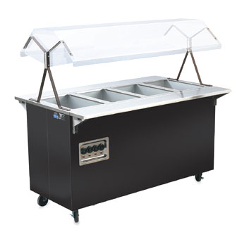 Vollrath Affordable Portable Four Well Hot Food Station with LIGHTS with BLACK WRAPPER complete with Buffet breath guard - 38712604