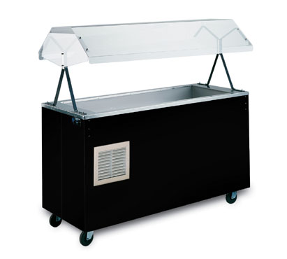 "Vollrath Affordable Portable MECHANICALLY REFRIGERATED Cold Pan with BLACK WRAPPER with easy access fully enclosed clear acrylic Buffet NSF2 Certified breath guard 12"" clearance - R38716"