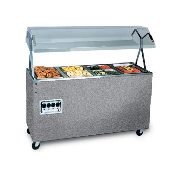 Vollrath Affordable Portable Four Well Hot Food Station with GRANITE WRAPPER complete with Buffet breath guard 120V - 38732