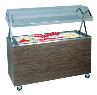 "Vollrath Affordable Portable MECHANICALLY REFRIGERATED Cold Food Pan with GRANITE WRAPPER with easy access fully enclosed clear acrylic Buffet NSF2 breath guard 12"" clearance - R38733"
