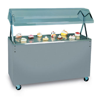 "Vollrath Affordable Portable Utility Station with CHERRY WOODGRAIN WRAPPER complete with easy access fully enclosed clear acrylic Buffet NSF2 Certified breath guard 12"" clearance - 38766"
