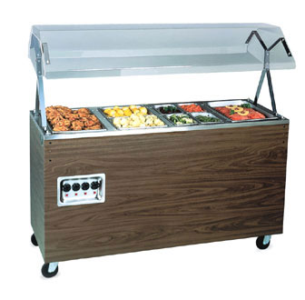 "Vollrath Affordable Portable Three Well Hot Food Station with CHERRY WOODGRAIN WRAPPER complete with Buffet breath guard 46""L - 38769"