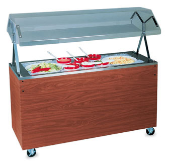 "Vollrath Affordable Portable NON-REFRIGERATED Cold Pan with CHERRY WOODGRAIN WRAPPER with easy access fully enclosed clear acrylic Buffet NSF2 Certified breath guard 12"" clearance - 38778"