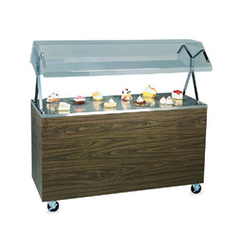"Vollrath Affordable Portable MECHANICALLY REFRIGERATED Cafeteria Unit with WALNUT WOODGRAIN WRAPPER complete with cafeteria breath guard with acrylic panel 60"" long - R39959"