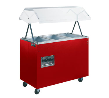 "Vollrath Affordable Portable Three Well Hot Food Station with WALNUT WOODGRAIN WRAPPER & LIGHTS complete with Buffet breath guard 46""L - 38935464"