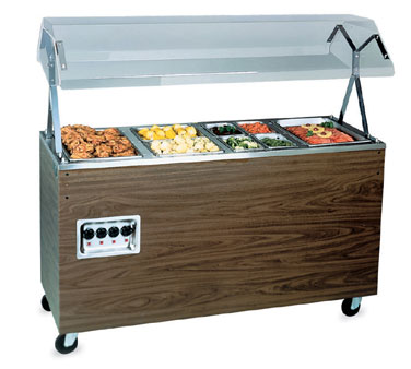 Vollrath Affordable Portable Four Well Hot Cafeteria Deluxe Unit with WALNUT WOODGRAIN WRAPPER complete with cafeteria breath guard with acrylic panel - T39947