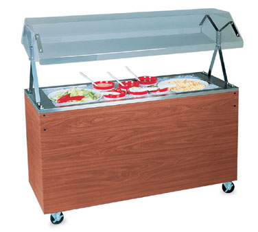 "Vollrath Affordable Portable MECHANICALLY REFRIGERATED Cold Food Pan with WALNUT WOODGRAIN WRAPPER with easy access fully enclosed clear acrylic Buffet NSF2 breath guard 12"" clearance - R38950"