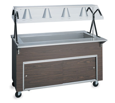 Vollrath Affordable Portable MECHANICALLY REFRIGERATED Cold pan with WALNUT WOODGRAIN WRAPPER & LIGHTS with easy access fully enclosed clear acrylic Buffet NSF2 Certified breath guard - R3896260