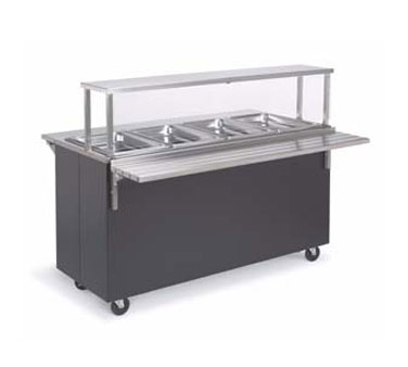 Vollrath Affordable Portable Four Well Hot Cafeteria Unit with WALNUT WOODGRAIN WRAPPER complete with cafeteria breath guard with acrylic panel - 399472
