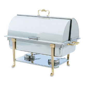 Vollrath Classic Design Full-Size Brass Trim Chafer with ROLL TOP COVER Oblong 9 qt - 46051