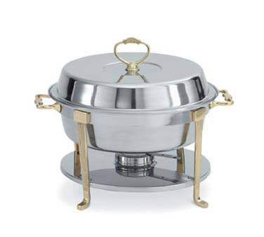Vollrath Classic Design Round Chafer Stainless with Brass Trim - 46030