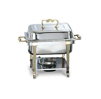 Vollrath Classic Design Half Size Chafer Stainless with Brass Trim - 46035