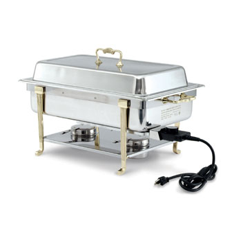 Vollrath Classic Design Full-Size Brass Trim Oblong 9 qt ELECTRIC Chafer - 46045