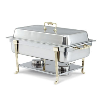 Vollrath Classic Design Full-Size Brass Trim Chafer Oblong 9 qt. - 46050