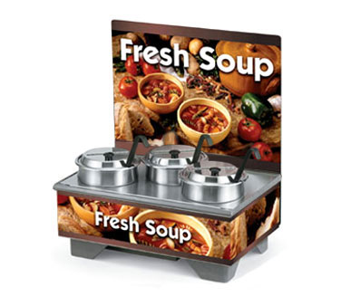 Vollrath 72020 Full Size Rethermalizing Model 1220 Soup Merchandiser Base with flush mount Menu Board with Country Kitchen Graphics and 4 qt Accessory Pack - 720201103