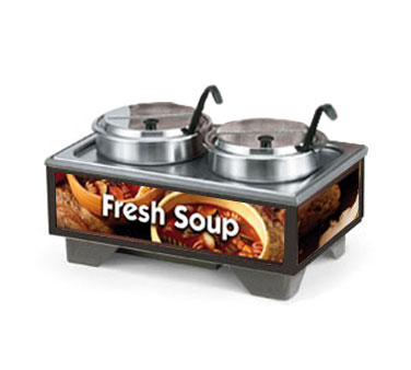 Vollrath Cayenne 72020 Full Size Rethermalizing Model 1220 Soup Merchandiser Base with Country Kitchen Graphics and 7 qt Accessory Pack - 720202003