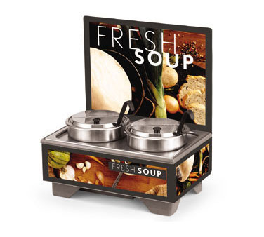 Vollrath Cayenne 72020 Full Size Rethermalizing Model 1220 Soup Merchandiser Base with flush mount Menu Board with Tuscan Graphics and 7 qt Accessory Pack - 720202102