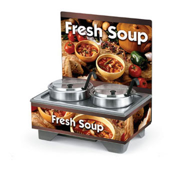 Vollrath Cayenne 72020 Full Size Rethermalizing Model 1220 Soup Merchandiser Base with flush mount Menu Board with Country Kitchen Graphics and 7 qt Accessory Pack - 720202103