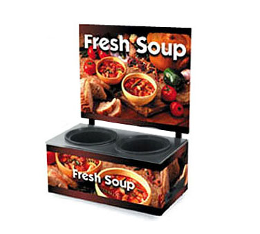 Vollrath Cayenne Twin Well Soup Merch with Menu Board & Country Kitchen Graphics BASE with MENU BOARD - 7203103