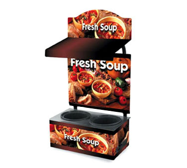Vollrath Cayenne Twin Well Soup Merch with Menu Board Canopy with Light and Country Kitchen Graphics - 7203203