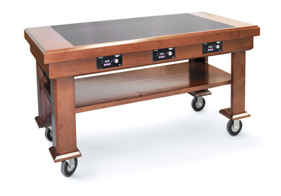 Vollrath Induction Table solid maple table (standard walnut color) with ceramic counter (black granite color) with (4) Mirage 5950145 under counter induction warmers - 7552381