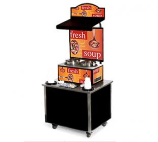 Vollrath Cayenne Soup Kiosk-free standing Merchandiser with Ladles graphics Black Laminate Signature Server Classic base TSM-27