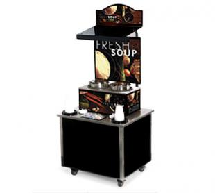 Vollrath Cayenne Soup Kiosk-free standing Merchandiser with Tuscan graphics Black Laminate Signature Server Classic base TSM-27