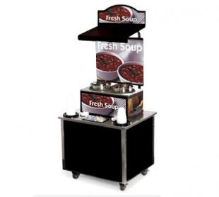 Vollrath Cayenne Soup Kiosk-free standing Merchandiser with White Bowls graphics Black Laminate Signature Server Classic base TS
