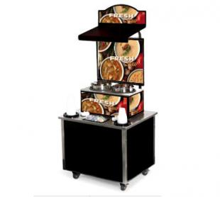 Vollrath Cayenne Soup Kiosk-free standing Merchandiser with Variety graphics Black Laminate Signature Server Classic base TSM-27