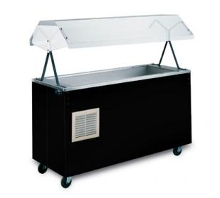 "Vollrath Affordable Portable Three Well Hot Food Station with BLACK WRAPPER complete with Buffet breath guard 46""L - 38707"