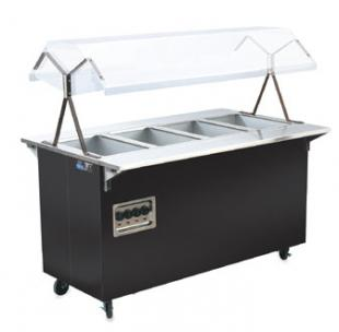 "Vollrath Affordable Portable Four Well Hot Food Station with BLACK WRAPPER complete with Buffet breath guard 60""L - 38710"