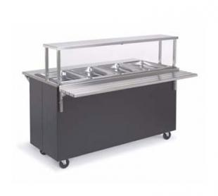 Vollrath Affordable Portable Three Well Hot Cafeteria Unit with BLACK WRAPPER complete with cafeteria breath guard with acrylic