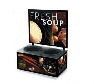 Vollrath Cayenne Twin Well Soup Merch with Menu Board & Tuscan Graphics BASE with MENU BOARD - 7203102