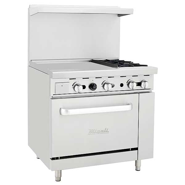 """Migali Competitor Series Range with Griddle Natural Gas 36"""" W - C-RO2-24GL-NG"""