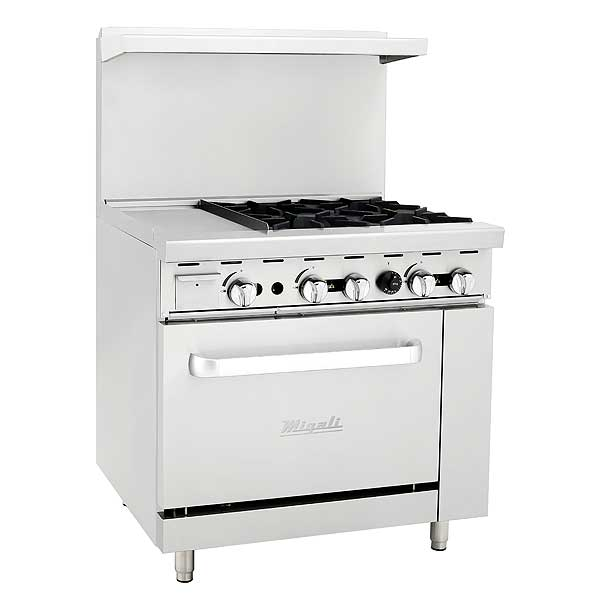 "Migali Competitor Series Range with Griddle Natural Gas 36"" W - C-RO4-12GL-NG"