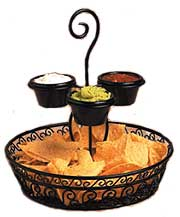 Ironworks Chip and Dip Basket with 3 Ramekins