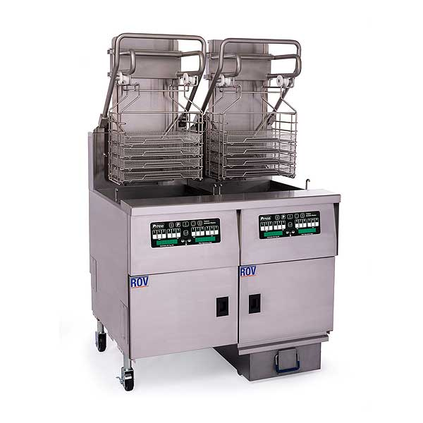 Pitco Solstice Supreme Reduced Oil Volume Fryer System with Advanced Automatic Filtration & Lift Assist for 5 Slot Rack Holder Electric (2) 76 Lb. Oil Capacity Full Tanks - SELVRF-2/FD