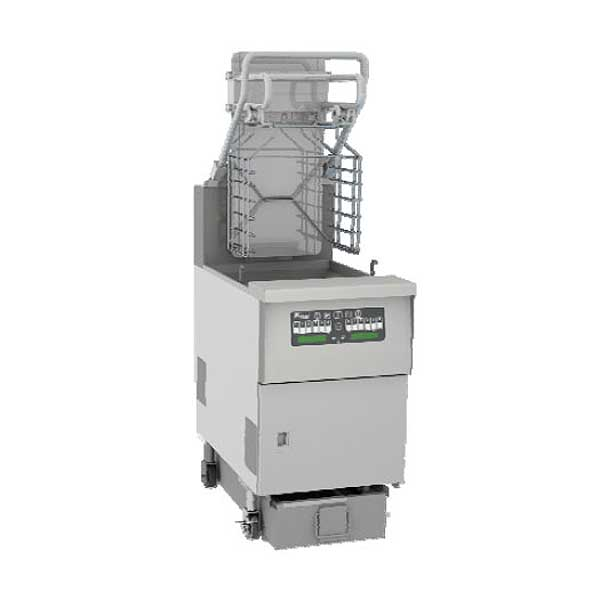 Pitco Solstice Supreme Reduced Oil Volume Fryer System with Advanced Automatic Filtration & Lift Assist for 5 Slot Rack Holder Gas (2) 76 Lb. Oil Capacity Full Tanks - SGLVRF-2/FD