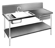 Advance Table Prep Table Sink Unit, 72 Inches Long - DL-30-72