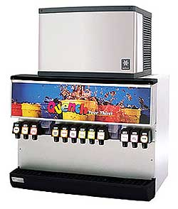 SerVend 10 Valve Ice / Beverage Dispenser with 300 Lbs Storage Capacity