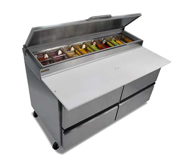 """Silver King Pizza Prep Table 60""""W Raised Refrigerated Pan Rail With (8) 1/3 Size Pan Capacity - SKPZ60-FDUS10"""