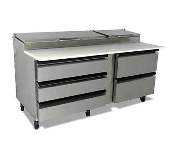 "Silver King Pizza Prep Table 72""W Raised Refrigerated Pan Rail With (9) 1/3 Size Pan Capacity - SKPZ72-EDUS2"