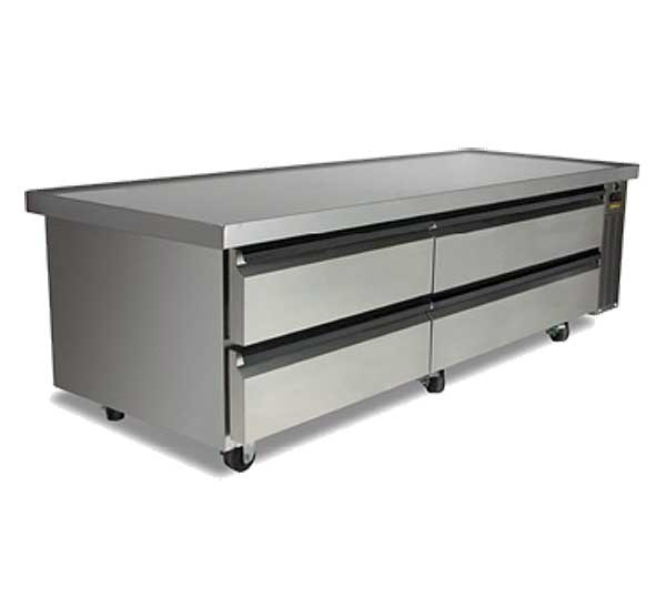 "Silver King High Capacity Refrigerated Chef Base Two-section 84""W - SKRCB84H-RDUS10"