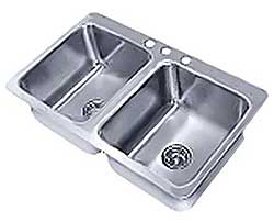 Advance Tabco Smart Series Two-Compartment Drop In Sink 20x16 Bowls