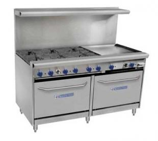 "Bakers Pride Range, 60"", 6 Open Burners, 24"" Griddle 60-BPV-6B-G24-S26"