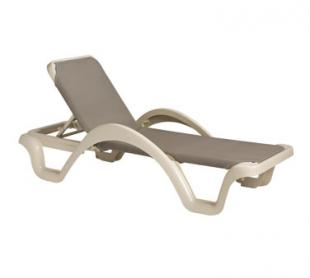 Grosfillex Catalina Chaise, Sandstone / Taupe - Case of 14 - 99218166